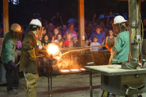 iron pouring demonstration at Tannehill Ironworks Historic State Park in McCalla, AL